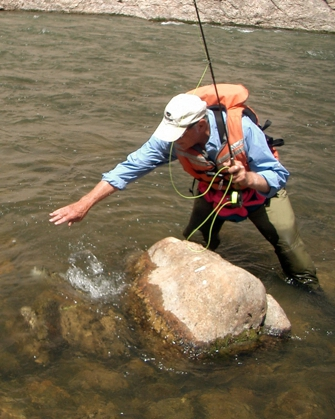 Fly Fishing near rock