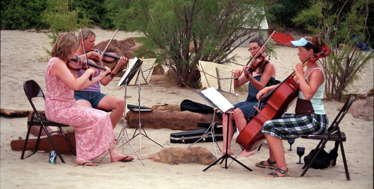Wake up to the sounds of a classical string quartet rehearsing, or perfoming concerts on the river banks at night.