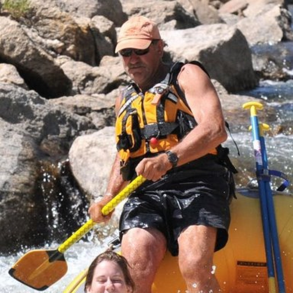 Bill Dvorak whitewater rafting the rapids of the Arkansas River through Browns Canyon