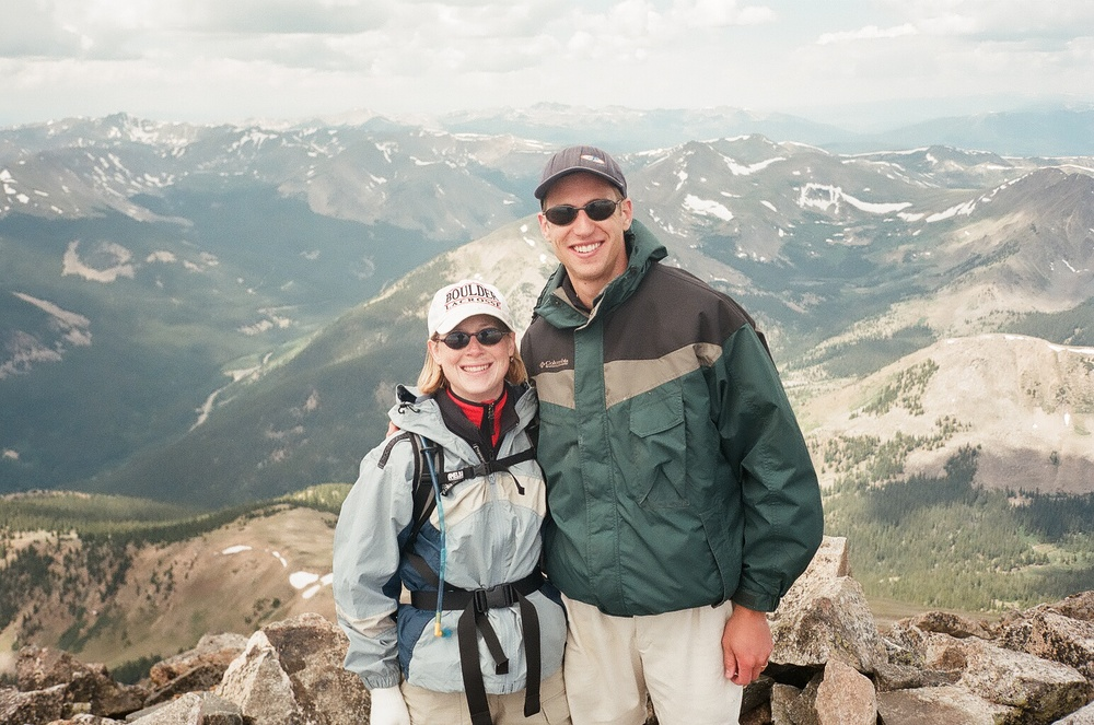 Brad and Melissa on the summit of Mt. Yale in 2000, one year before their life threatening experience on Colorado's Mt. Evans.
